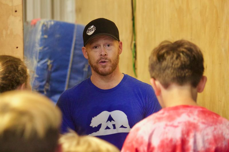 PMG PHOTO: CHRISTOPHER KEIZUR - Revolution Parkour owner Ryland Lanagan helped train youth during the camp his gym hosted.