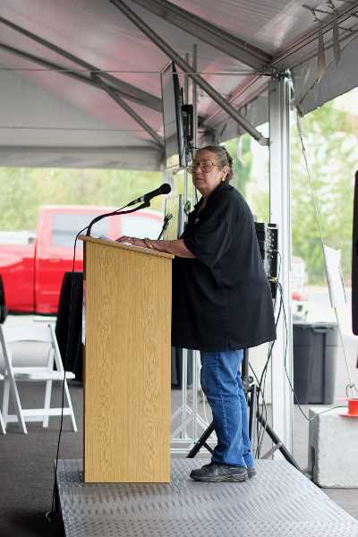 PMG PHOTO: ANNA DEL SAVIO - Sen. Betsy Johnson (D-Scappoose) speaks at the OMIC groundbreaking ceremony for an additive manufacturing facility.