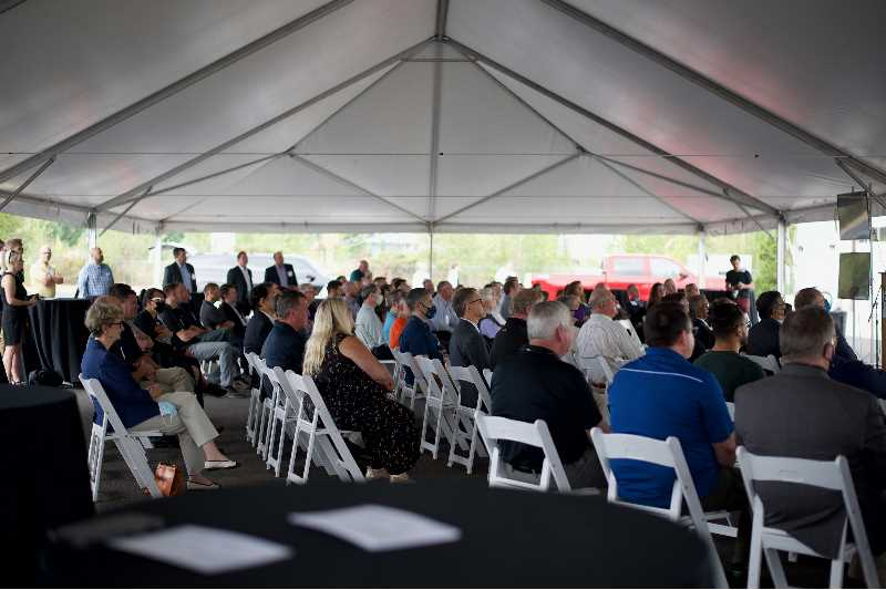 PMG PHOTO: ANNA DEL SAVIO - Representatives from manufacturing businesses, political leaders, economic development groups and universities and other educational groups attend a groundbreaking ceremony at OMIC on Aug. 19, 2021.