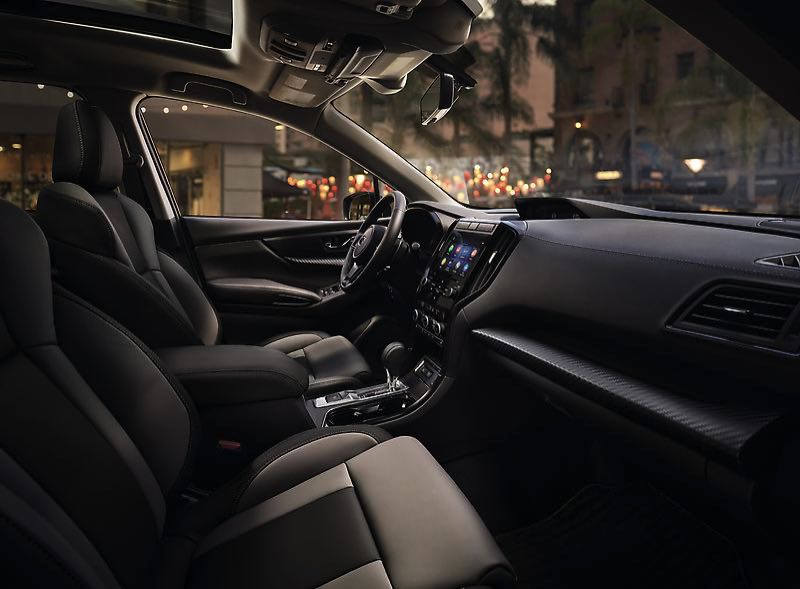 COURTESY SUBARU OF AMERICA - The interior design of the 2022 Subaru Ascent is clean and contemporary, and the Onyx Edition includes StarTex water-repellent upholstery.