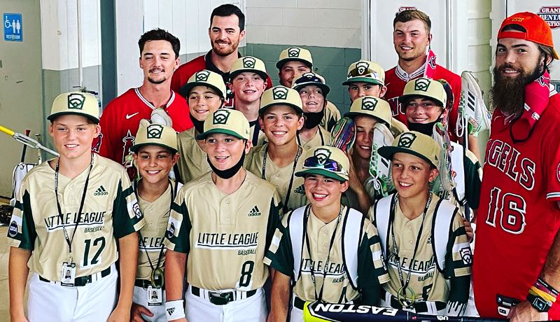 COURTESY PHOTO: VANESSA STURGEON - When the Lake Oswego Majors all-stars' Sunday, Aug. 22, game at the Little League World Series was postponed due to rain, the team's players spent part of their off day with members of the Los Angeles Angels.