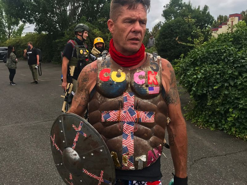 PMG PHOTO: ZANE SPARLING - A Proud Boys particiant who uses the name 'Based Cuck.'