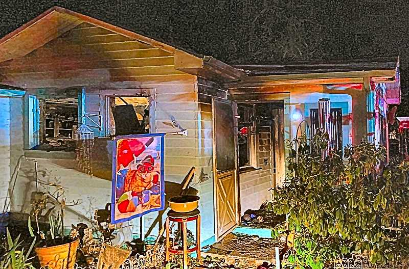 COURTESY OF PF&R - The front room of this Brentwood-Darlington home was charred when a fire ripped through the house, killing its occupant and her two dogs.