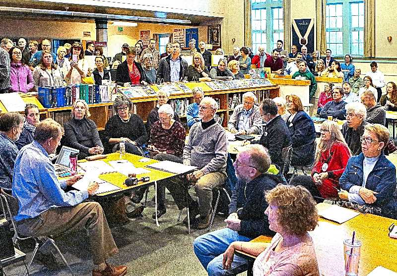 DAVID F. ASHTON - Neighbors packed the Duniway Elementary School library in March of 2017 to learn the outcome of a neighborhood survey about the Eastmoreland Historic District proposal - but both sides of the issue felt that the close result confirmed their own position, so the outcome appeared inconclusive at the time.