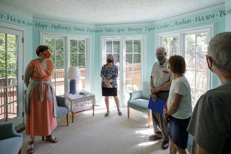 PMG PHOTO: JONATHAN HOUSE - A tour group checks out the sunroom at the Hopewell House., Southwest Community Connection - News With $2.5 million in donations, Portland's only hospice home could see patients again next spring Nonprofit aims to reopen Hopewell House in 2022