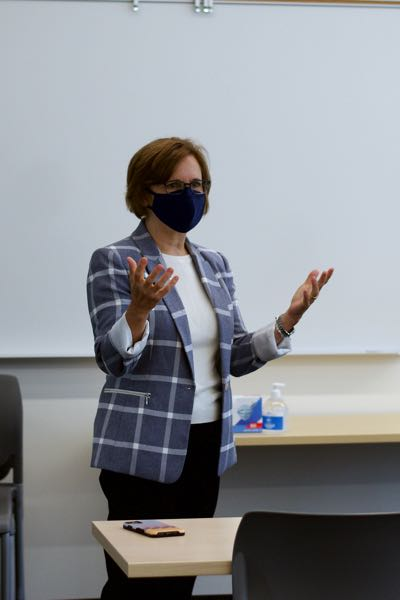 PMG PHOTO: ANNA DEL SAVIO - Rep. Suzanne Bonamici speaks to students in PCC's On-Ramp to Manufacturing summer course at its new Scappoose facility.