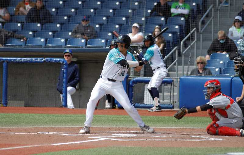 PMG FILE PHOTO: WADE EVANSON - Hillsboro's Andy Yerzy takes a cut during a Hops game earlier this season. The Hops were swept by Spokane as part of a six-game series this past week.