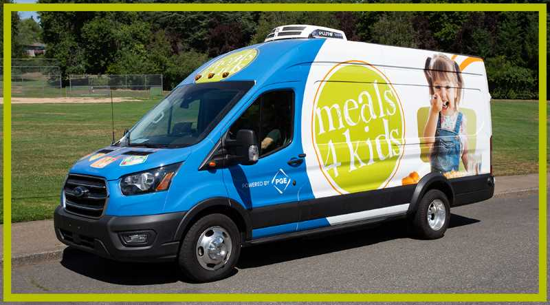 PHOTO COURTESY MEALS ON WHEELS PEOPLE - A new electric and solar-powered delivery van is used for Meals 4 Kids, a program run by Meals on Wheels People that feeds children in Portland who are food-insecure. The van is the first of its kind in the nation used by MOWP.