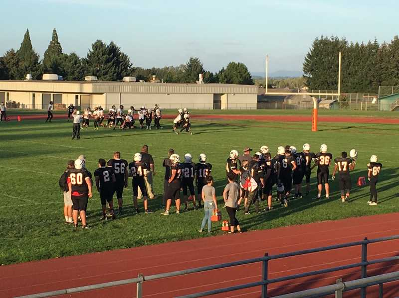 COURTESY PHOTO: SUE MACLACHLAN - The football field at Scappoose High Shool has natural grass.