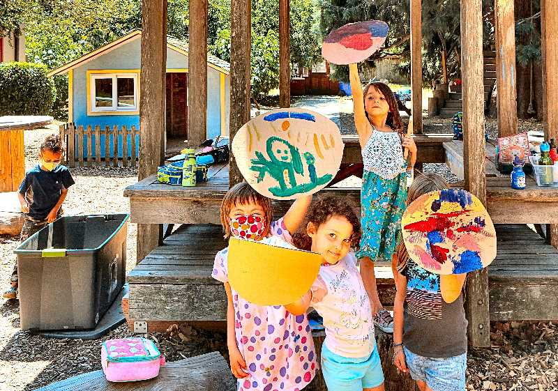 DAVID F. ASHTON - Part of Nordic Week, at Tucker Maxon Summer Arts Camp, found the campers making their shields - as these kids proudly show.