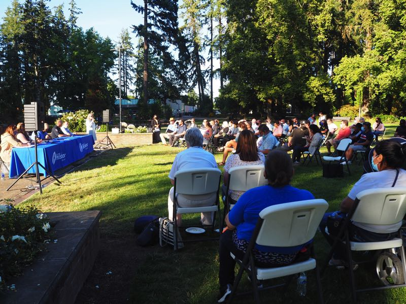 PMG PHOTO: MAX EGENER - Public officials and Latino business owners gather at Shute Park in Hillsboro on Monday, Aug. 16, to discuss concerns over Project Turnkey Hillsboro, a homeless shelter created by Washington County earlier this year.