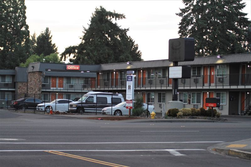 PMG PHOTO: WADE EVANSON - The former Econo Lodge motel at 622 S.E. 10th Ave. in Hillsboro was purchased by Washington County to be converted into a shelter through Project Turnkey.