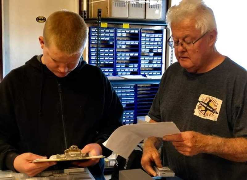 PHOTO COURTESY OF SAMSON SKY  - Ronald Forseth, pictured left, works with Ron Burch at Samson Sky on inventory.