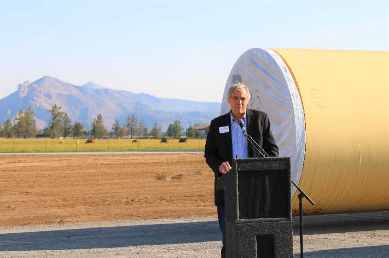 PAT KRUIS/MADRAS PIONEER   - Sen. Jeff Merkley, D-Ore., visits the Central Oregon Irrigation District to celebrate launching the second phase of piping three more miles of the irrigation canal. Most of the funding for the project came from federal sources.