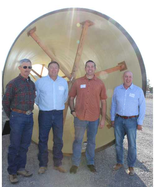 PAT KRUIS/MADRAS PIONEER   - Jefferson County farmers stand to gain the water saved from the piping in Deschutes County. The project involves years of collaboration between the North Unit Irrigation District and the Central Oregon Irrigation District. Marty Richards, far left, Mike Britton and Josh Bailey represent NUID. Craig Horrell, right, represents COID.