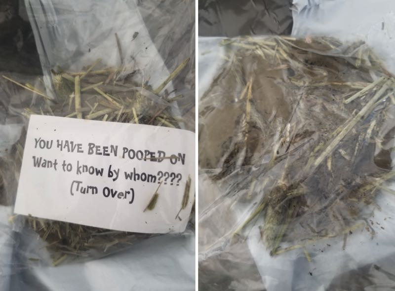 PHOTOS - The bag of poop that was mailed to Carol Johnson, former Civil Rights Division chief for Oregon's Bureau of Labor and Industries, is shown here.