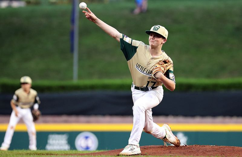 COURTESY PHOTO: LITTLE LEAGUE WORLD SERIES - Lake Oswego pitcher Ben Robertson delivers during his team's 14-6 loss to New Hampshire in the Little League World Series at Lamaade Stadium in Williamsport, Pennsylvania, on Wednessday, Aug. 24.