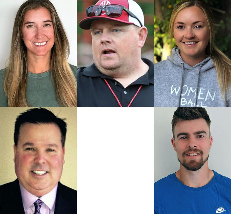 COURTESY PHOTOS - New varsity coaches ready to make their debuts this fall are (clockwise from top left): Kate Jette, Clackamas girls cross country; Dustin Janz, La Salle football; Madison Campbell, West Linn girls soccer; Nick Lewis, Lakeridge girls soccer; and Monty Hawkins, La Salle boys soccer.