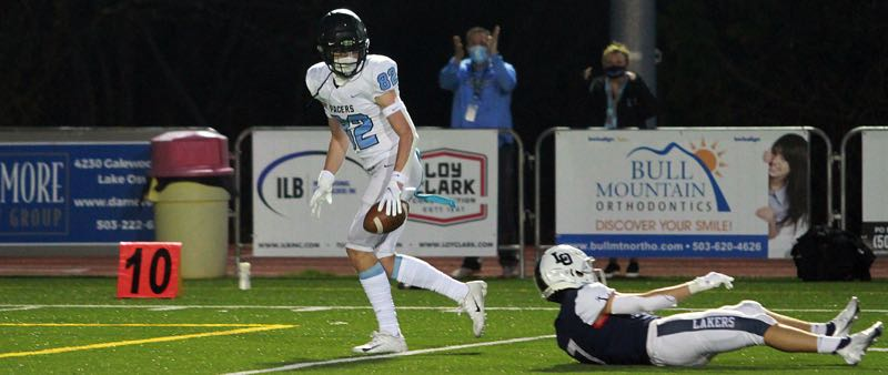 PMG PHOTO: MILES VANCE - Now 6-foot-5 and 200 pounds, Lakeridge sophomore Joey Olsen racked up 22 catches for 347 yards and four touchdowns in the Pacers' five-game campaign last season.