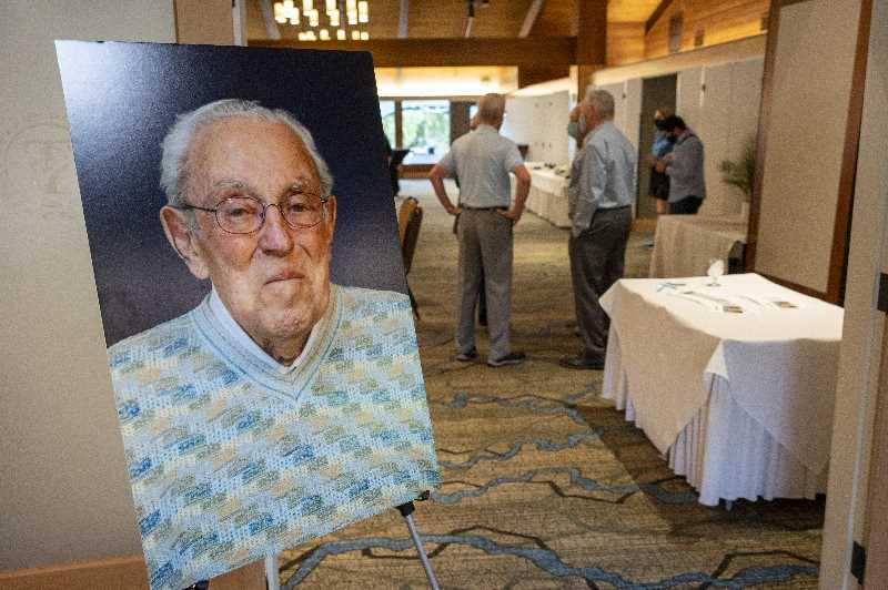 PMG PHOTO: JAIME VALDEZ - Bud Osseys portrait will now hang in a gallery at the U.S. Army Corps of Engineers Portland district office.