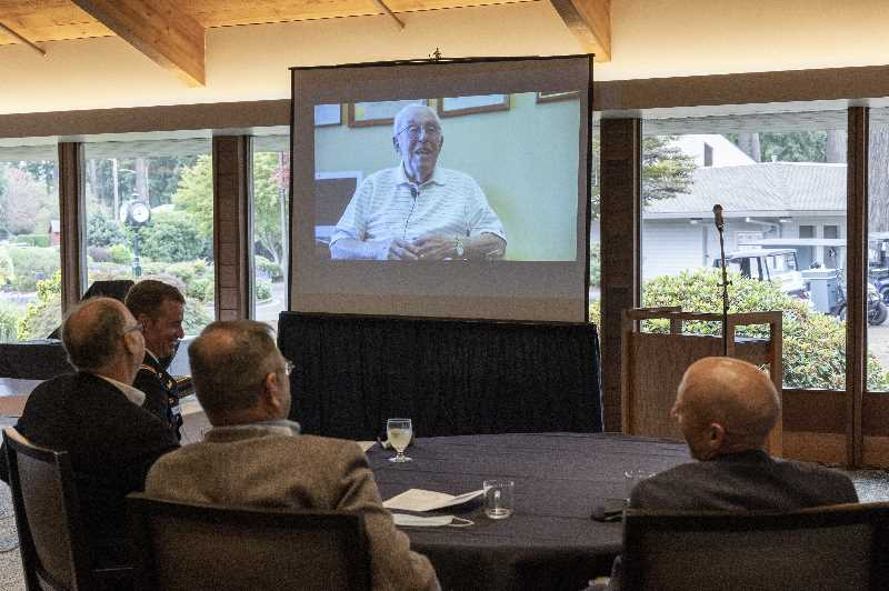 PMG PHOTO: JAIME VALDEZ - Those celebrating the life and times of Bud Ossey were treated to a video where he recalled his days as an engineer with the U.S. Army Corps of Engineers.
