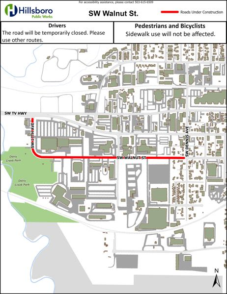 COURTESY MAP: CITY OF HILLSBORO - A map shows pavement maintenance road closures along Southwest Walnut Street and 17th Avenue in Hillsboro Aug. 3-Sept. 3.