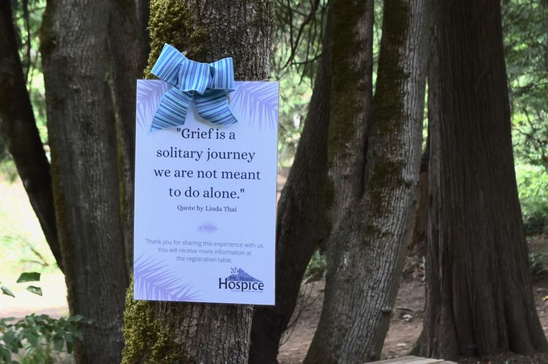 PMG PHOTO: BRITTANY ALLEN - Signs with inspirational quotes, poetry and invitations to reflect were scattered throughout Meinig Park on Aug. 25.