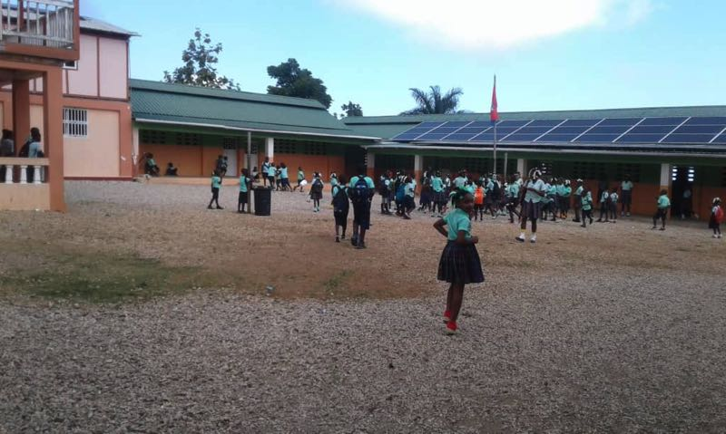 COURTESY PHOTO: BRIGHTEN HAITI - Solar panels installed on a school in the town of Durissy, Haiti, located 50 miles west of the capital of Port-au-Prince.