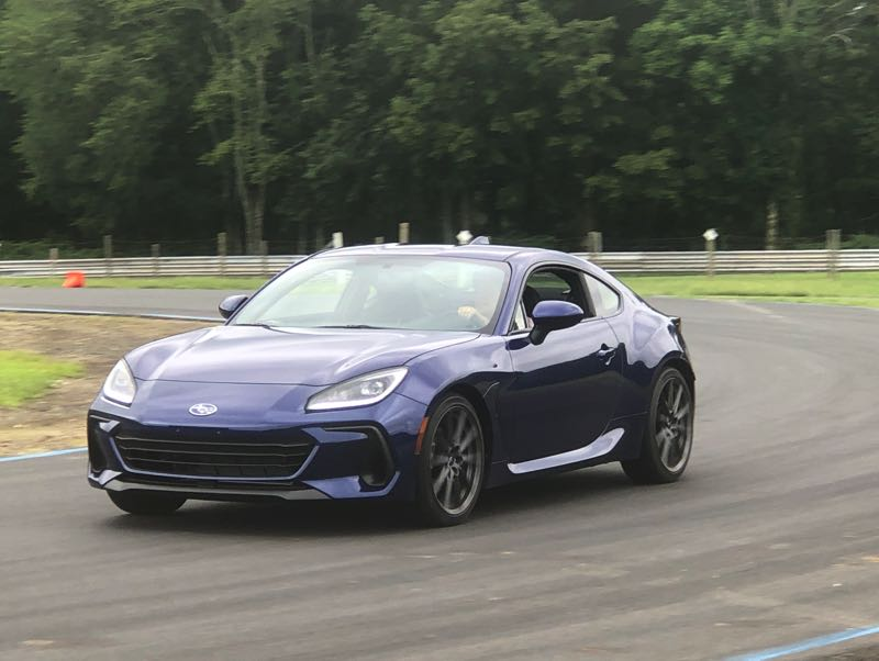 PMG PHOTO: JEFF ZURSCHMEIDE - The 2022 Subaru BRZ on the track at the Lime Rock Raceway Park in Connecticut.