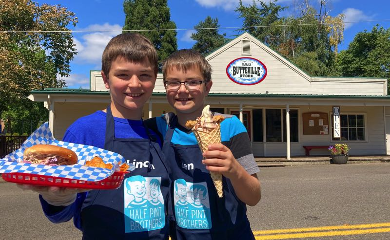 COURTESY PHOTO - Lincoln (left) and Ben Scoggins have started their new ice cream and sandwhich shop Half Pint Brothers with their dad and Jr. Scoop founder Jordan Scoggins.