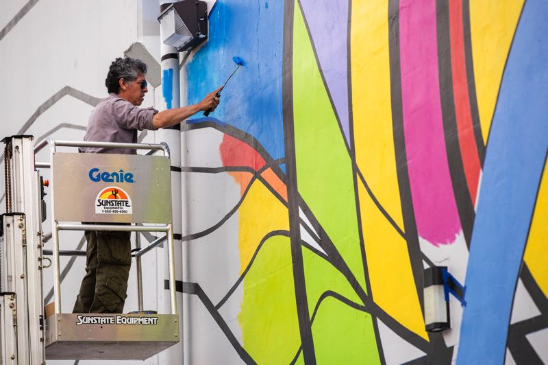 PMG PHOTO: JAIME VALDEZ - The new mural at Hillsboro's Inukai Family Boys & Girls Club will give students who go to the after-school center a sense of place, says artist Arturo Villaseñor.