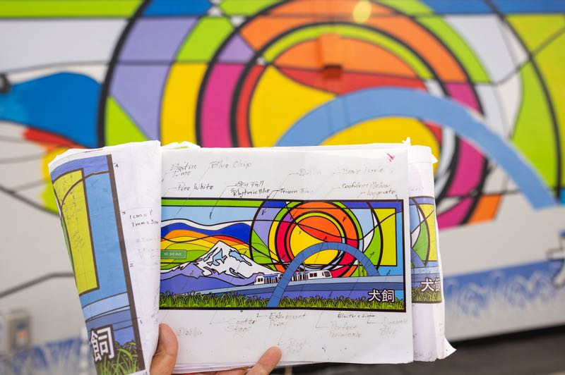 PMG PHOTO: JAIME VALDEZ - The design of a new mural at Hillsboro's Inukai Family Boys & Girls Club by local artist Arturo Villaseñor contains recognizable markers of place and lots of color.
