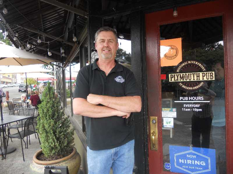 PMG PHOTO: SCOTT KEITH - Plymouth Pub owner Brad Rakes keeps his St. Helens business open despite mask mandate.