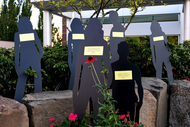 PMG FILE PHOTO: CHRISTOPHER OERTELL - Silhouettes showing domestic violence statistics during a domestic violence vigil at the Tom Hughes Civic Center Plaza in Hillsboro in 2019.