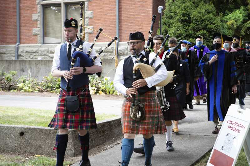 PACIFIC UNIVERSITY - Bag pipers lead a procession of faculty members druing Pacific University's convocation ceremony Monday, which marked the first day of classes (Photo: Pacific University).