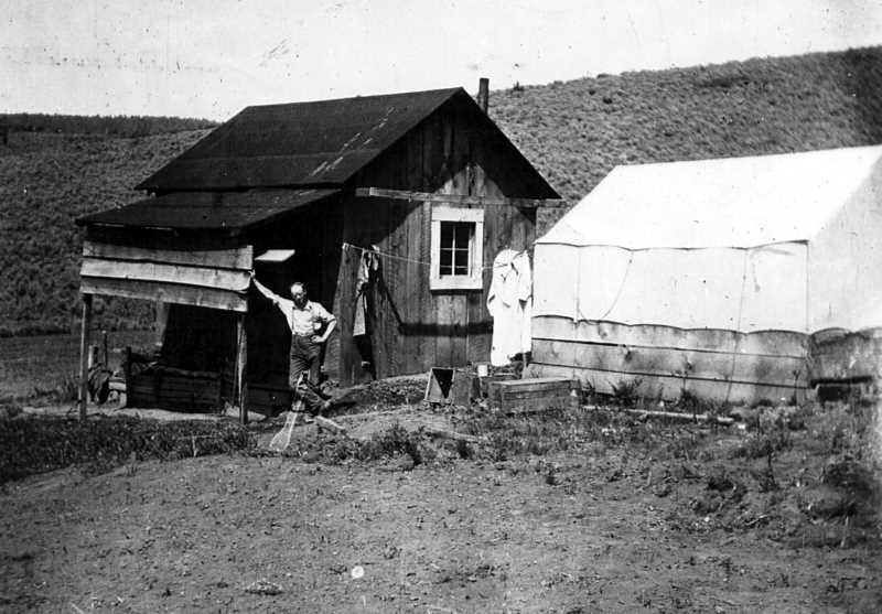 PHOTO COURTESY OF BOWMAN MUSEUM  - The shooting happened at a typical homestead cabin in Hampton, such as the one shown in this photo.