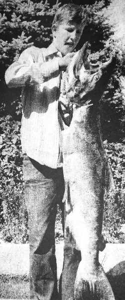 CENTRAL OREGONIAN - September 2, 1971: Bob Moncrief, 15, proudly shows the first Chinook salmon that he caught. The youngster caught the 35 lb., 45-inch fish last week at Sherars Bridge on the Deschutes River. In addition to the big fish, Bob also landed a 32-inch, 20 lb. Chinook. He is the son of Mr. and Mrs. Bill Moncrief, 1000 Hacienda Lane.