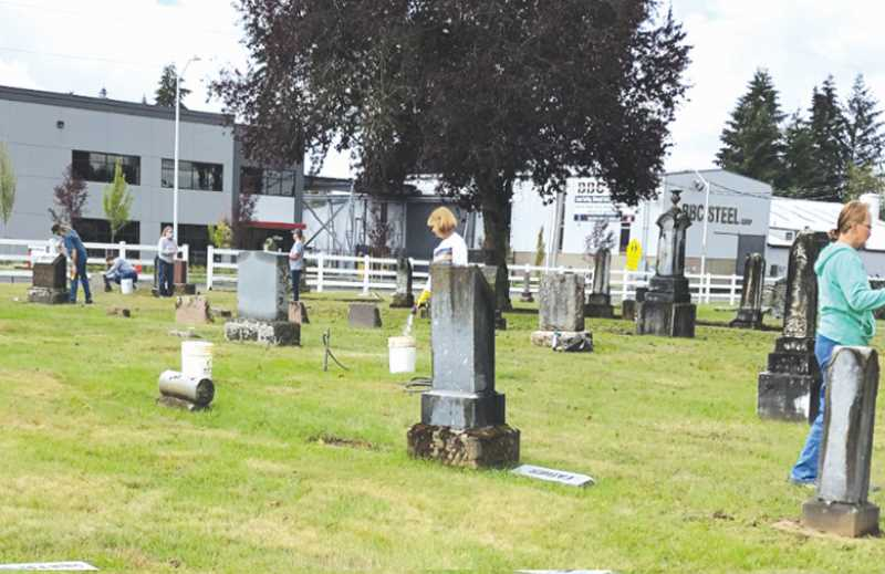 COURTESY PHOTO: CANBY HLC - On Saturday, Sept. 25, volunteers are sought for a marker cleaning project at Zion Memorial Cemetery in Canby.