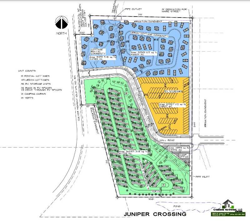 PLANS COURTESY CREATIVE NORTHWEST LLC  - The Madras City Council approved a zone change that allows a developer to build an RV park west of Love's Travel Stop. Plans for Juniper Crossing include long-term RV sites, cabins, yurts and eventually cottage homes and RV storage.