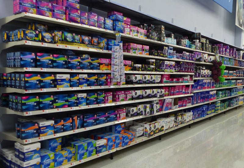COURTESY PHOTO: WIKIPEDIA - Feminine hygiene products are displayed here on the shelves of a grocery store.