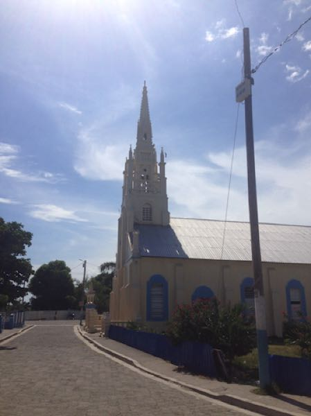 COURTESY PHOTO: JIM SHAW - Pictured here is the Catholic church in Les Anglais prior to the steeple collapsing in the recent earthquake.