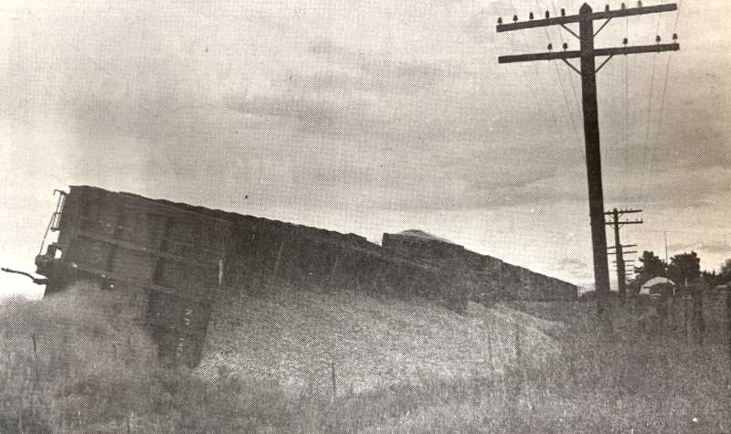 PIONEER ARCHIVES   - Sept. 2, 1971: An investigation into the cause of a three-car train derailment near Metolius continued Tuesday afternoon as Burlington Northern Railroad crews worked to clear track blocked for nearly twelve hours. The cars were loaded with wood chips being shipped by Brooks Willamette Corporation, Redmond.