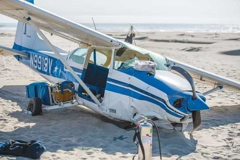 COURTESY PHOTO - Newport Mayor Dean Sawyer's Cessna rests on the Newport beach on July 8, 2019.