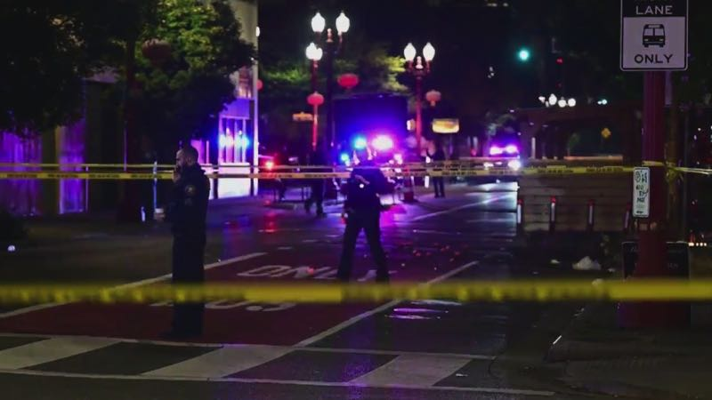 COURTESY PHOTO: KOIN 6 NEWS - Police respond to a previous shooting in Northwest Portland.