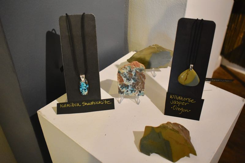 PMG PHOTO: EMILY LINDSTRAND - Nambia Shattuckiteand Oregon Wildhore Jasper are a few of the stones used in Tacy Jones' show at the Spiral Gallery.