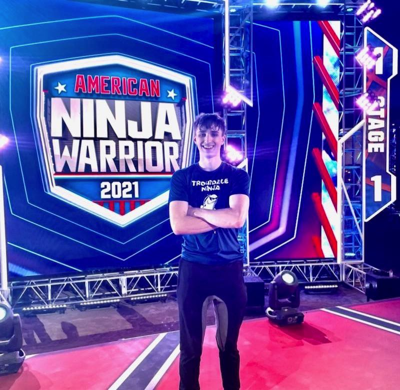 """COURTESY PHOTO: LISA MADZELAN - Troutdale teenager Caiden Madzelan advanced to the national finals of """"American Ninja Warrior."""" He """"timed out"""" in his race, and vowed to be better in 2022."""