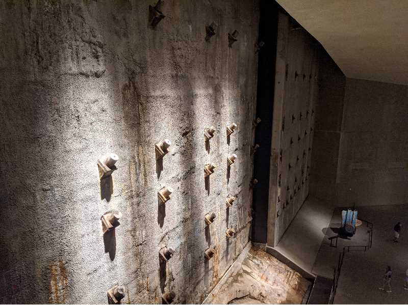 PMG PHOTO: JOSEPH GALLIVAN - Tie backs from the old Twin Towers are still visible in the underground September 11 Museum in New York City.