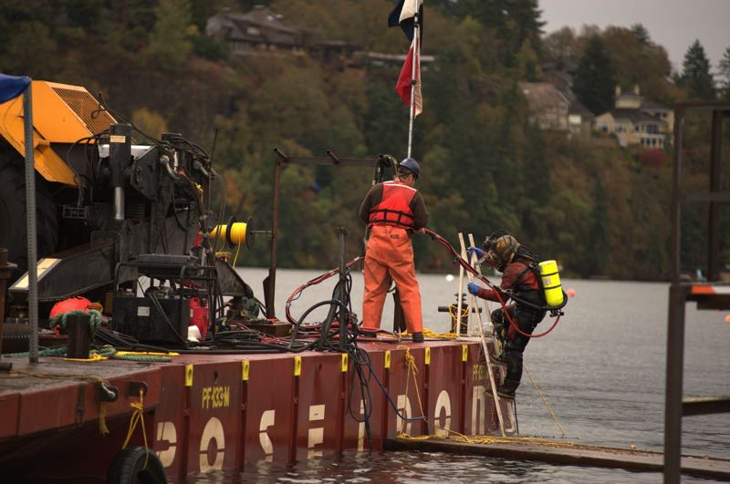 COURTESY PHOTO: CITY OF LAKE OSWEGO - Advanced American Construction performs underwater inspections using a similar process to what will be used at Oswego Lake.