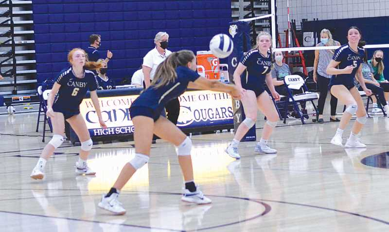 COURTESY PHOTO: SARAH OLIVER - The Canby High volleyball team opened its season with a three-set loss to visiting Sheldon on Sept. 1. The Cougars are inexperienced and looking to see new players establish themselves in the lineup.