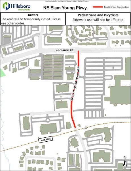 COURTESY MAP: CITY OF HILLSBORO - A map shows a temporary road closure for pavement maintenance along a portion of Northeast Elam Young Parkway in Hillsboro nightly Sept. 7-10.